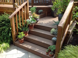 Small Containers on Stairs